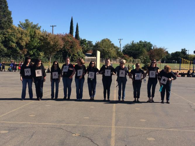 """""""We are Stars!"""" Sequoia's superstar teachers get into the spirit with a secret message to the students revealed at the annual Halloween parade!"""
