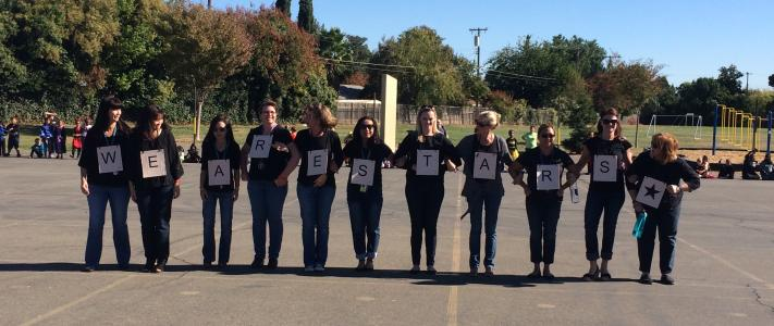 """We are Stars!"" Sequoia's superstar teachers get into the spirit with a secret message to the students revealed at the annual Halloween parade!"